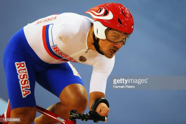 Alexsey Obydennov of Russia competes in the Men's Individual C123 1km Cycling Time Trial Final on day 1 of the London 2012 Paralympic Games at...