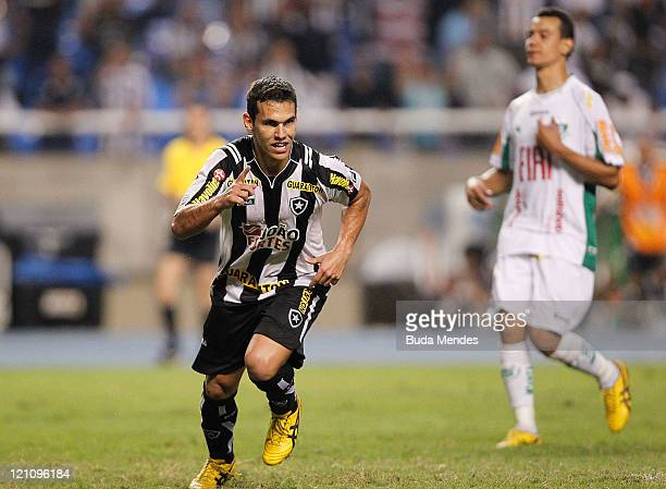 Alexssander of Botafogo celebrates a scored goal againist America MG during a match as part of Serie A 2011 at Engenhao stadium on August 13, 2011 in...