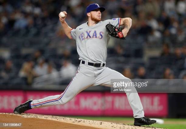 Alexy of the Texas Rangers pitches during the first inning against the New York Yankees at Yankee Stadium on September 20, 2021 in New York City. The...