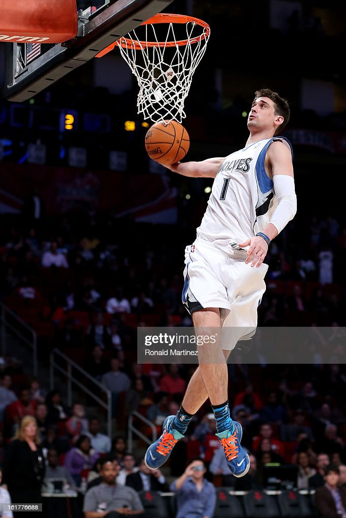Alexy Shved #1 of the Minnesota Timberwolves and Team Chuck goes up to dunk the ball in the BBVA Rising Stars Challenge 2013 part of the 2013 NBA All-Star Weekend at the Toyota Center on February 15, 2013 in Houston, Texas.
