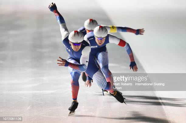 Alexy Yesin Artyom Kuznetsov and Viktor Mushtakov of Russia compete during the Men's Team Sprint on day three of the ISU World Cup Speed Skating at...