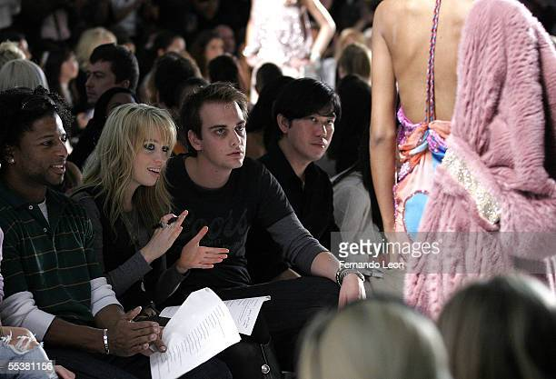 Alexz Johnson and her brother attends the Venexiana Spring 2006 fashion show during Olympus Fashion Week at Bryant Park September 11 2005 in New York...