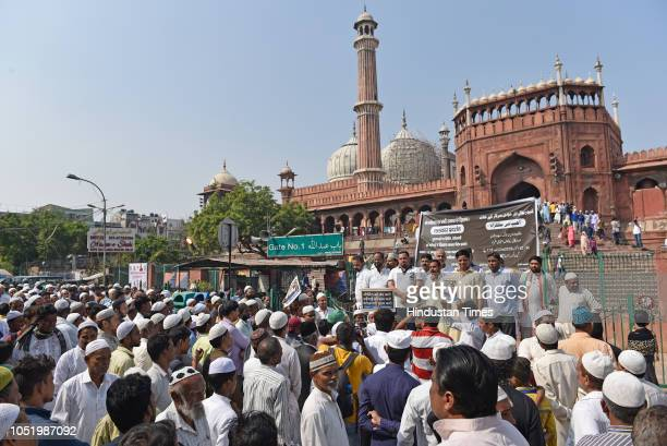 Aley Mohammad Iqbal a political leader from Indian National Congress during a protest against the sealing drive at Jama Masjid Chowk on October 12...