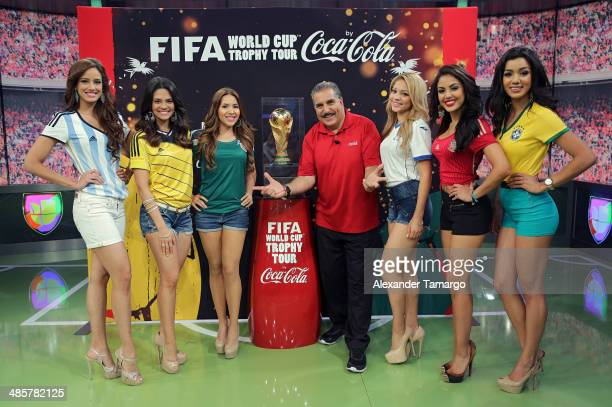 Aleyda Ortiz Alina Robert Aly Villegas Fernando Fiore Josefina Ochoa Nabila Tapia and Maria Elena Amaya pose during the FIFA World Cup Trophy Tour...