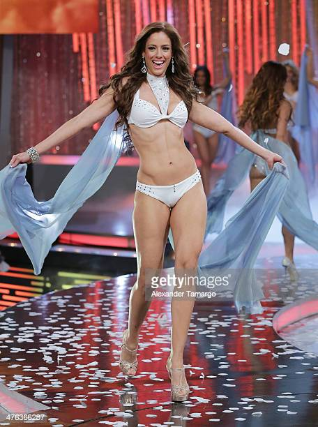 Aleyda Ortiz is seen competing during the premiere show of Univision's Nuestra Belleza Latina at Univision Headquarters on March 2 2014 in Miami...