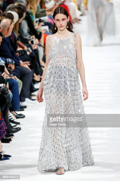 Aleyna Fitzgerald walks the runway during the Valentino show as part of the Paris Fashion Week Womenswear Spring/Summer 2018 on October 1 2017 in...