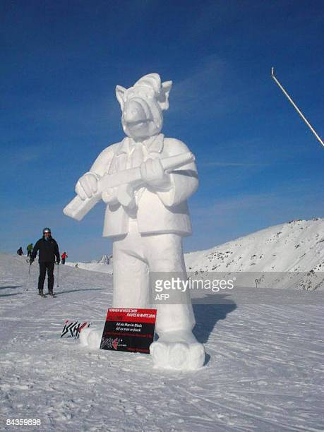 Alf as Black Man a snow sculpture made by Italians Lorentz Demetz and Thomas Mussner is pictured on January 17 2009 as part of the 'Shapes in White...