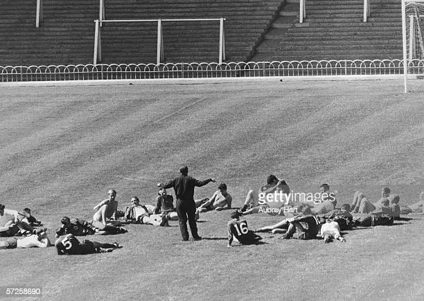 Alf Ramsey conducting an training session with the England team during the 1966 World Cup 23rd July 1966