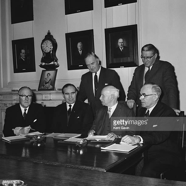 Alf Ramsey the new manager of the England football team sits down with other members of the selection committee to select the team for the European...