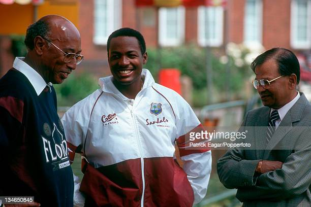 Alf Valentine, Brian Lara and Sonny Ramadin, England v West Indies, 2nd Test, Lord's, Jun 95.