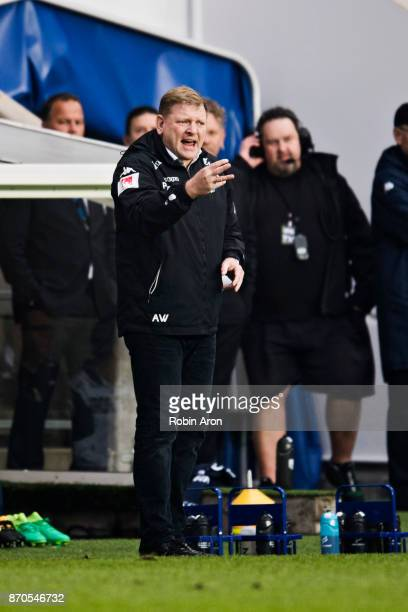 Alf Westerberg head coach of IFK Goteborg instructs his players during the Allsvenskan match between IFK Goteborg and GIF Sundvall at Gamla Ullevi on...
