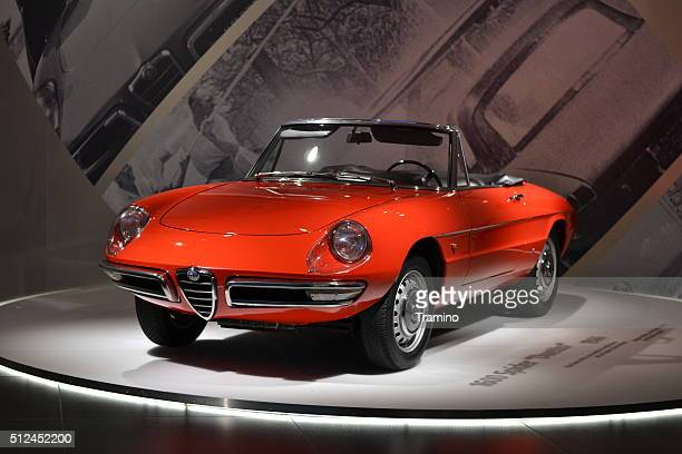 alfa romeo 1600 spider duetto in the car museum - alfa romeo stock pictures, royalty-free photos & images