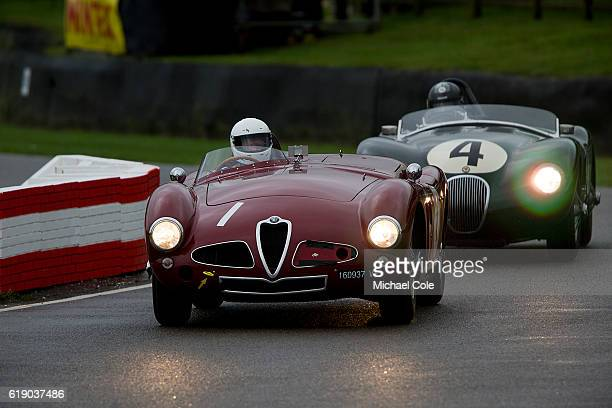Alfa Romeo 3000 'Disco Volante' entered and driven by Christopher Mann on the chicane in the wet during the Freddie March Memorial Trophy race at...