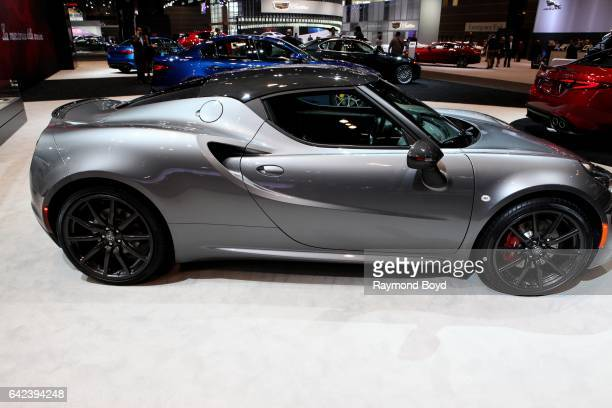 Alfa Romeo 4C Coupe is on display at the 109th Annual Chicago Auto Show at McCormick Place in Chicago Illinois on February 9 2017