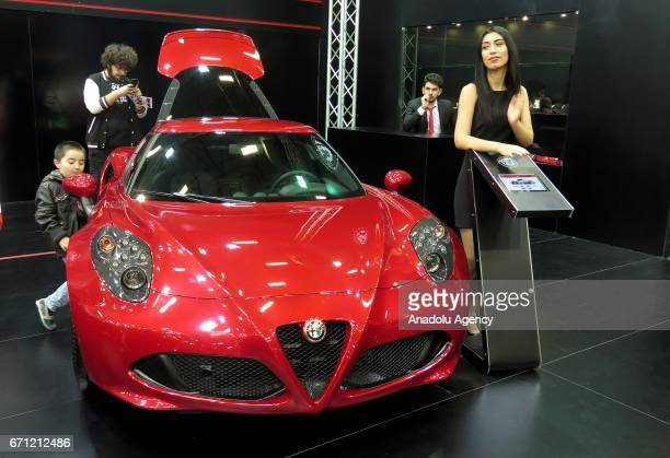 Alfa Romeo 4C is being displayed during the Istanbul Autoshow 2017 at the TUYAP Fair and Convention Center in Istanbul Turkey on April 21 2017