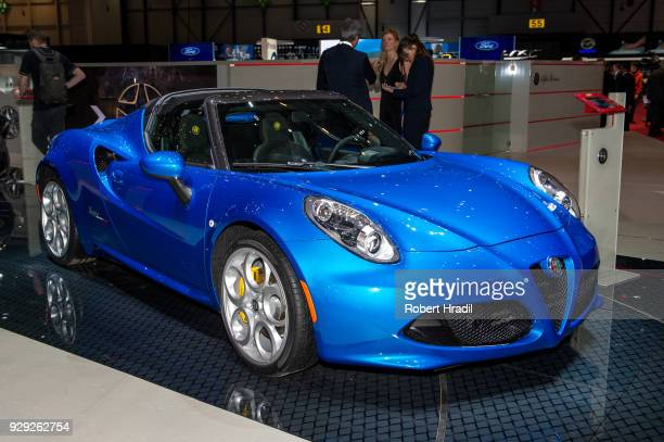 Alfa Romeo 4C is displayed at the 88th Geneva International Motor Show on March 7 2018 in Geneva Switzerland Global automakers are converging on the...