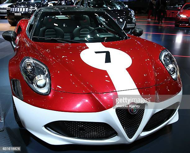 Alfa Romeo 4C is displayed during the Brussels Motor Show 2017 at the Brussels Expo in Brussels Belgium on January 13 2017