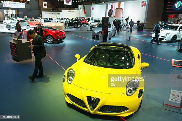 Alfa Romeo 4C Spider at a motor show stand