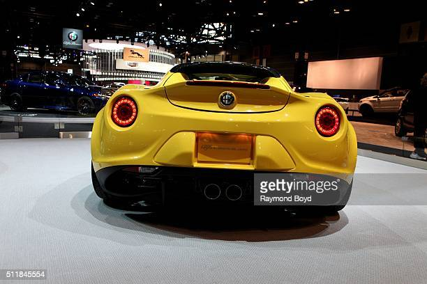 Alfa Romeo 4C Spider is on display at the 108th Annual Chicago Auto Show at McCormick Place in Chicago Illinois on February 11 2016