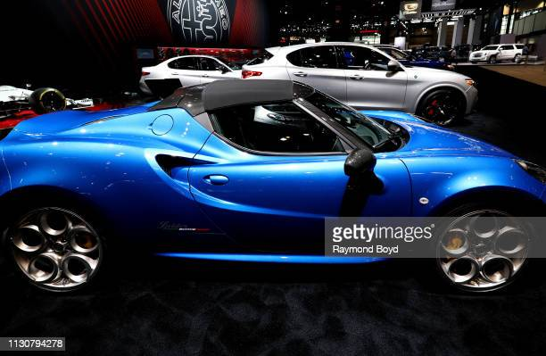 Alfa Romeo 4C Spider Italia is on display at the 111th Annual Chicago Auto Show at McCormick Place in Chicago, Illinois on February 8, 2019.