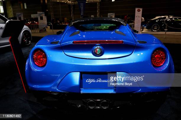Alfa Romeo 4C Spider Italia is on display at the 111th Annual Chicago Auto Show at McCormick Place in Chicago Illinois on February 8 2019