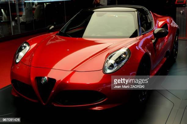 L'Alfa Romeo 4C Spider Standard Edition 1750 Tbi 240 HP présentee sur le stand Alfa Romeo pendant le Mondial de l'Automobile à Paris en France le 29...