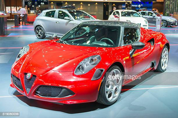 alfa romeo 4c coupe sports car - alfa romeo stock pictures, royalty-free photos & images