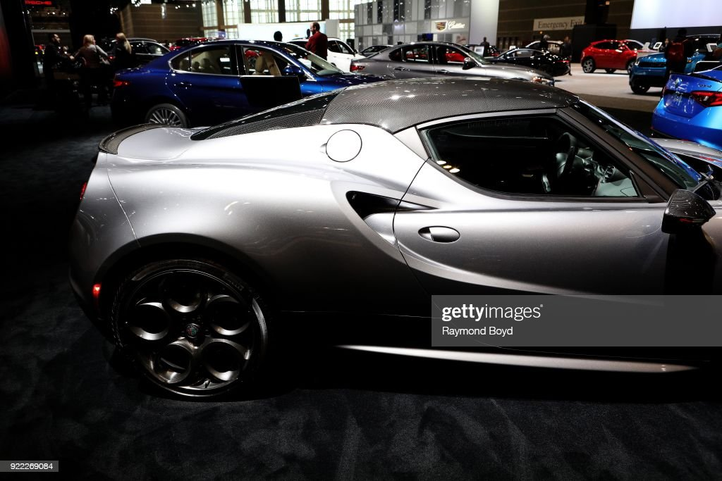 Alfa Romeo 4C Spyder is on display at the 110th Annual Chicago Auto Show at McCormick Place in Chicago, Illinois on February 9, 2018.