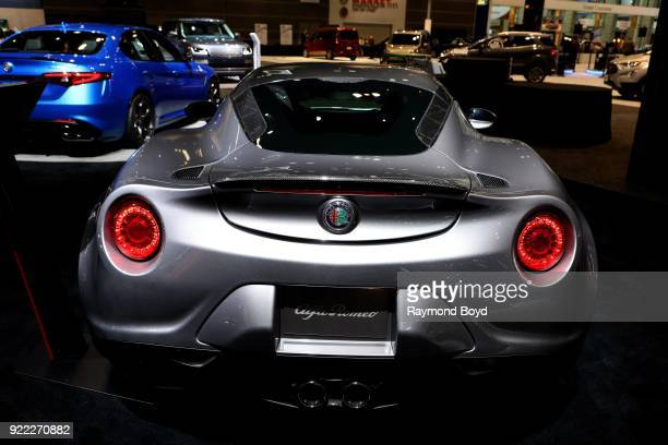 Alfa Romeo 4C Spyder is on display at the 110th Annual Chicago Auto Show at McCormick Place in Chicago Illinois on February 9 2018