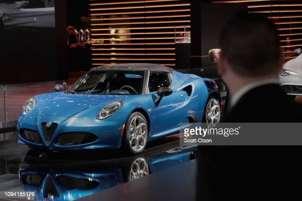 Alfa Romeo 5C Spider is displayed at the North American International Auto Show at the Cobo Center on January 14 2019 in Detroit Michigan The show is...