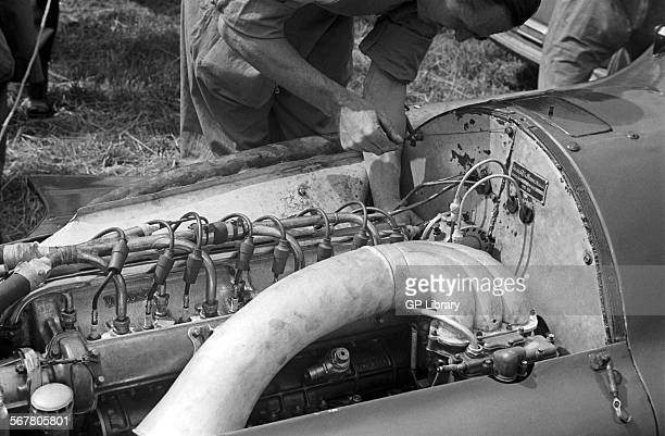 Alfa Romeo Alfetta engine the 'elephant trunk' is the air intake for the engine's supercharger British Grand Prix Silverstone England 14th July 1951