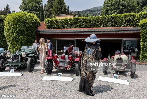 Alfa Romeo Automobiles SpA 8C 2300 Monza left a 1930 Alfa Romeo Automobiles SpA 6C 1750 Gran Sport center and a 1925 Bugatti Automobiles SAS Type 35...