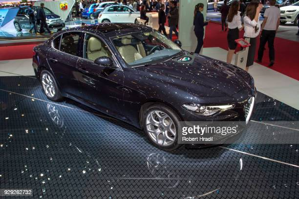Alfa Romeo Giulia is displayed at the 88th Geneva International Motor Show on March 7 2018 in Geneva Switzerland Global automakers are converging on...