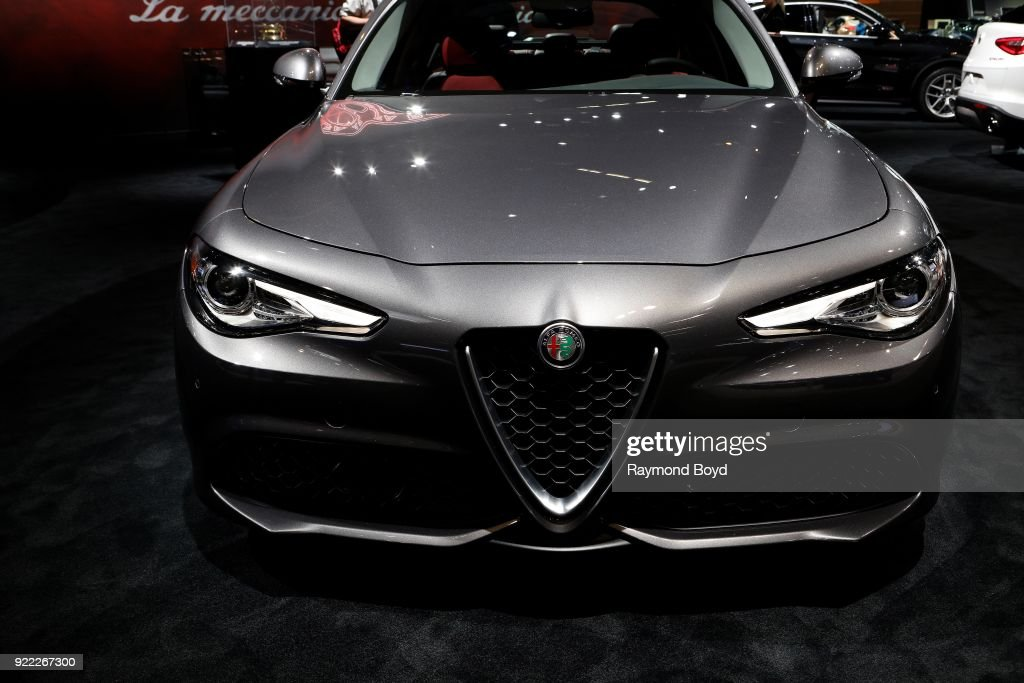 Alfa Romeo Giulia is on display at the 110th Annual Chicago Auto Show at McCormick Place in Chicago, Illinois on February 9, 2018.