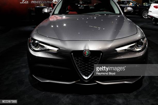 Alfa Romeo Giulia is on display at the 110th Annual Chicago Auto Show at McCormick Place in Chicago Illinois on February 9 2018
