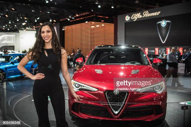 Alfa Romeo Giulia is on display during North American International Auto Show at Cobo Center in Detroit MI United States on January 15 2018
