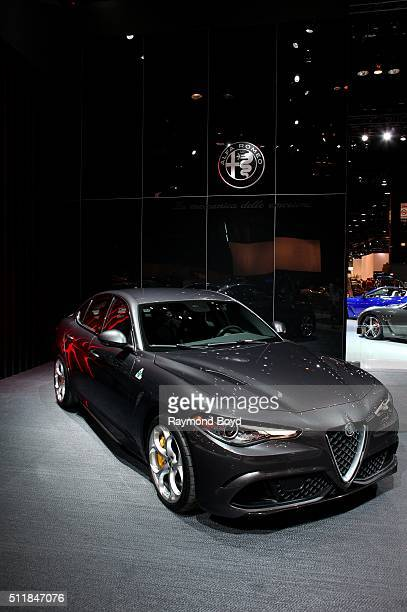 Alfa Romeo Giulia Quadrifoglio is on display at the 108th Annual Chicago Auto Show at McCormick Place in Chicago Illinois on February 11 2016