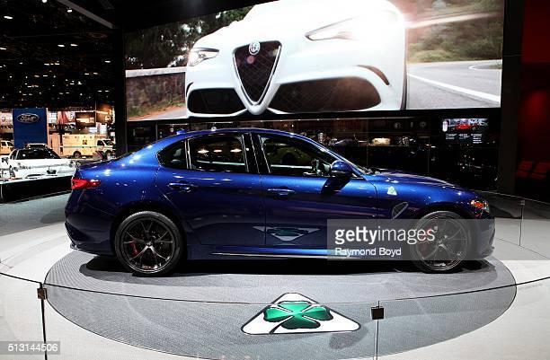 Alfa Romeo Giulia Quadrifoglio is on display at the 108th Annual Chicago Auto Show at McCormick Place in Chicago Illinois on February 19 2016