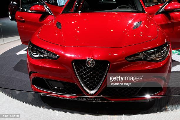 Alfa Romeo Giulia Quadrifoglio is on display at the 108th Annual Chicago Auto Show at McCormick Place in Chicago Illinois on February 19 2016