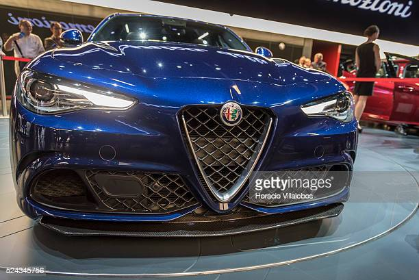 Alfa Romeo Giulia seen during press days of the 66th International Auto Show in Frankfurt Germany 16 September 2015 The Frankfurt Auto Show hosts...