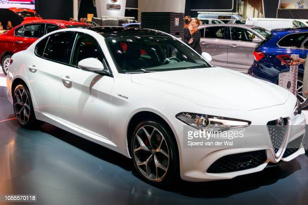 Alfa Romeo Giulia Veloce executive saloon car on display at Brussels Expo on January 13 2017 in Brussels Belgium The Alfa Romeo Giulia is available...