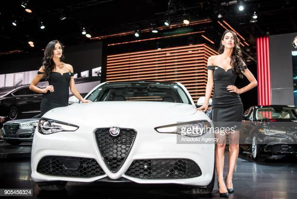 Alfa Romeo is on display during North American International Auto Show at Cobo Center in Detroit MI United States on January 15 2018