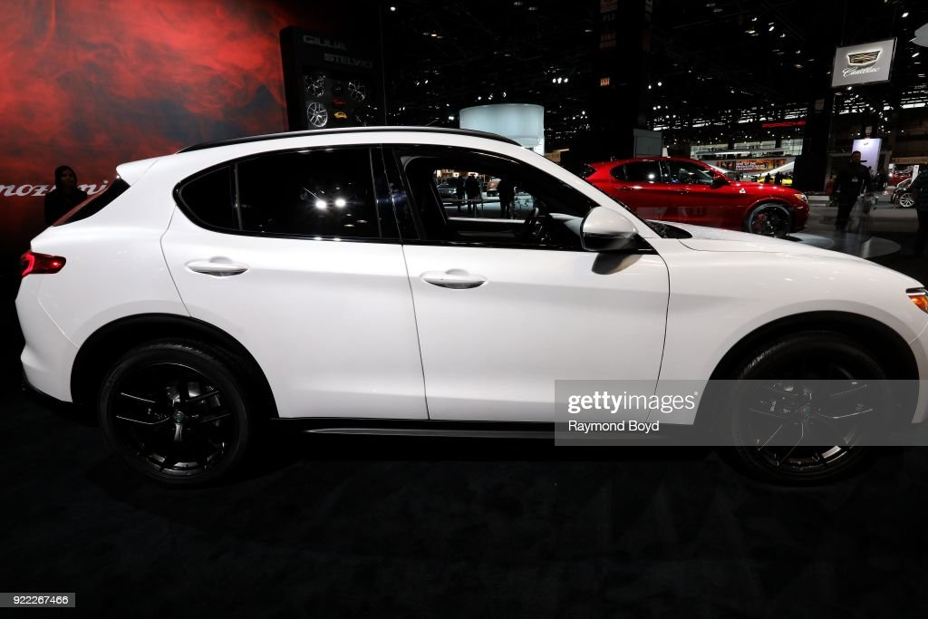Alfa Romeo Q4 Stelvio is on display at the 110th Annual Chicago Auto Show at McCormick Place in Chicago, Illinois on February 9, 2018.