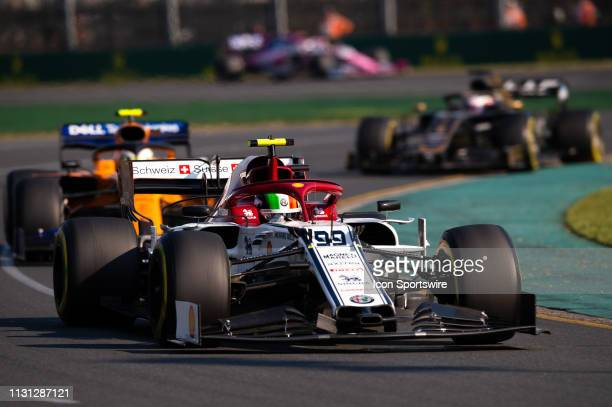 Alfa Romeo Racing driver Antonio Giovinazzi during the race at The Australian Formula One Grand Prix on March 17 at The Melbourne Grand Prix Circuit...