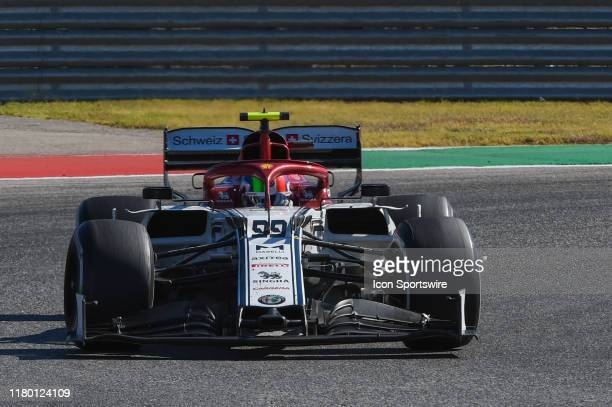 Alfa Romeo Racing driver Antonio Giovinazzi of Italy enters turn 11 during the F1 US Grand Prix race at Circuit of The Americas on November 3 2019 in...