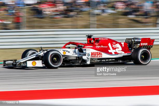 Alfa Romeo Racing driver Kimi Räikkönen of Finland at turn 19 during the the F1 United States Grand Prix held November 3 at the Circuit of the...