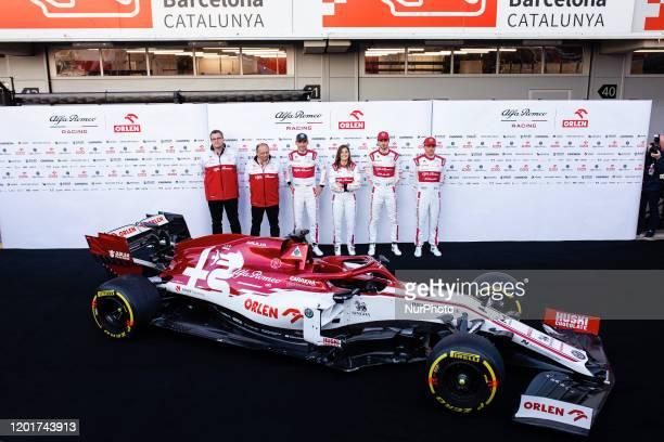 Alfa Romeo Racing Team C39 presentation with Kimi Raikkonen, Antonio Giovinazzi, Robert Kubica and Tatiana Calderon portrait during the Formula 1...
