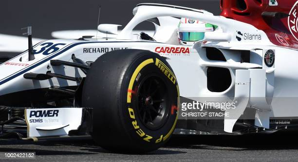 Alfa Romeo Sauber F1 team driver Italian Antonio Giovinazzi drives during the first free practice session ahead of the German Formula One Grand Prix...