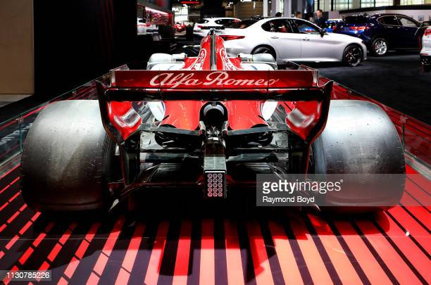 Alfa Romeo Sauber F1 Team vehicle is on display at the 111th Annual Chicago Auto Show at McCormick Place in Chicago, Illinois on February 8, 2019.