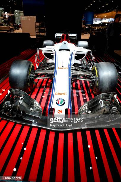 Alfa Romeo Sauber F1 Team vehicle is on display at the 111th Annual Chicago Auto Show at McCormick Place in Chicago Illinois on February 8 2019